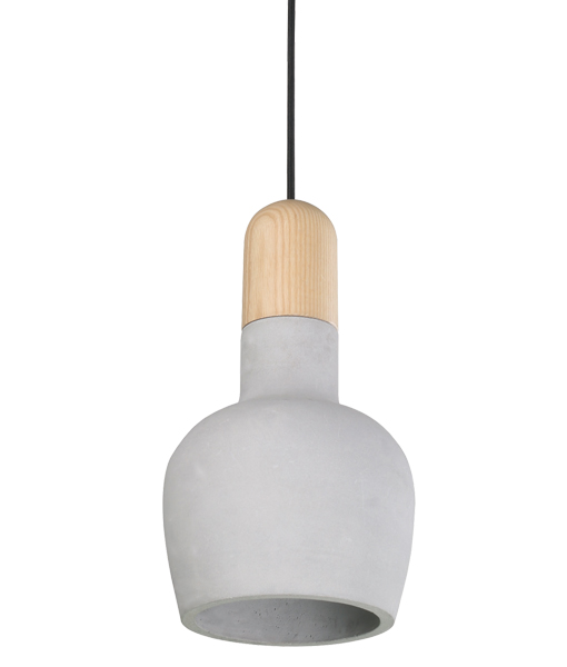 HENGE 1LT PENDANT BLONDE WOOD/CONCRETE